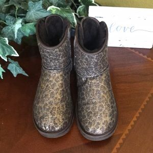 UGG Bronze Glitter Bailey Mini Bow Boots